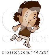 Clipart Of A Retro African American Girl Running Royalty Free Vector Illustration by Cory Thoman