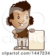 Clipart Of A Retro African American Girl With A Blank Sign Royalty Free Vector Illustration by Cory Thoman