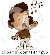 Clipart Of A Retro African American Girl Singing Royalty Free Vector Illustration by Cory Thoman