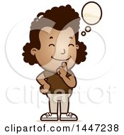 Clipart Of A Retro African American Girl Thinking Royalty Free Vector Illustration by Cory Thoman