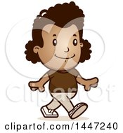 Clipart Of A Retro African American Girl Walking Royalty Free Vector Illustration by Cory Thoman