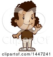 Clipart Of A Retro African American Girl Waving Royalty Free Vector Illustration by Cory Thoman