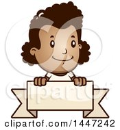 Clipart Of A Retro African American Girl Over A Blank Ribbon Banner Royalty Free Vector Illustration by Cory Thoman