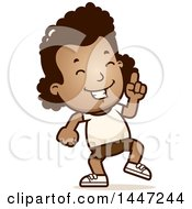 Clipart Of A Retro African American Girl In Shorts Doing A Happy Dance Royalty Free Vector Illustration by Cory Thoman