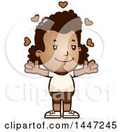 Clipart Of A Retro African American Girl In Shorts With Open Arms And Love Hearts Royalty Free Vector Illustration by Cory Thoman
