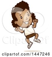 Clipart Of A Retro African American Girl Jumping In Shorts Royalty Free Vector Illustration by Cory Thoman