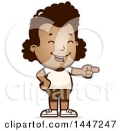 Clipart Of A Retro African American Girl In Shorts Laughing And Pointing Royalty Free Vector Illustration