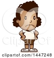 Clipart Of A Retro Angry African American Girl In Shorts With Hands On Her Hips Royalty Free Vector Illustration by Cory Thoman