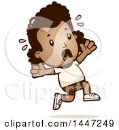 Clipart Of A Retro African American Girl In Shorts Running Scared Royalty Free Vector Illustration by Cory Thoman