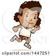 Clipart Of A Retro African American Girl Running In Shorts Royalty Free Vector Illustration by Cory Thoman