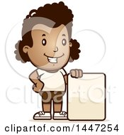 Clipart Of A Retro African American Girl In Shorts With A Blank Sign Royalty Free Vector Illustration by Cory Thoman