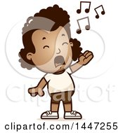 Clipart Of A Retro Singing African American Girl In Shorts Royalty Free Vector Illustration by Cory Thoman