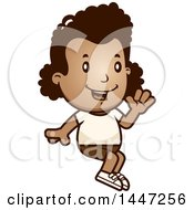 Clipart Of A Retro African American Girl Sitting And Waving In Shorts Royalty Free Vector Illustration by Cory Thoman