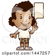 Clipart Of A Retro Talking African American Girl In Shorts Royalty Free Vector Illustration by Cory Thoman