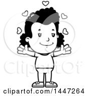 Clipart Of A Retro Black And White African American Girl With Open Arms And Love Hearts Royalty Free Vector Illustration