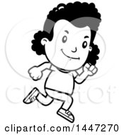 Clipart Of A Retro Black And White African American Girl Running Royalty Free Vector Illustration