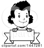 Clipart Of A Retro Black And White Black And White African American Girl Over A Blank Ribbon Banner Royalty Free Vector Illustration