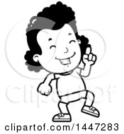 Clipart Of A Retro Black And White African American Girl In Shorts Doing A Happy Dance Royalty Free Vector Illustration