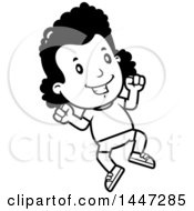 Clipart Of A Retro Black And White African American Girl Jumping In Shorts Royalty Free Vector Illustration