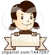 Clipart Of A Retro Caucasian Girl Smiling Over A Blank Ribbon Banner Royalty Free Vector Illustration