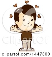 Clipart Of A Retro Caucasian Girl With Open Arms And Love Hearts Royalty Free Vector Illustration by Cory Thoman