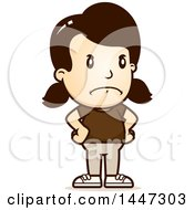 Clipart Of A Retro Angry Caucasian Girl With Hands On Her Hips Royalty Free Vector Illustration