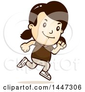 Clipart Of A Retro Caucasian Girl Running Royalty Free Vector Illustration by Cory Thoman