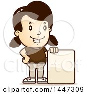 Clipart Of A Retro Caucasian Girl With A Blank Sign Royalty Free Vector Illustration by Cory Thoman