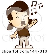 Clipart Of A Retro Caucasian Girl Singing Royalty Free Vector Illustration by Cory Thoman