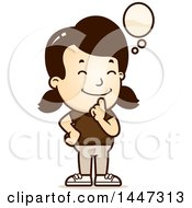 Clipart Of A Retro Caucasian Girl Thinking Royalty Free Vector Illustration by Cory Thoman