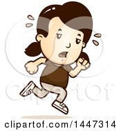 Clipart Of A Retro Tired Caucasian Girl Running Royalty Free Vector Illustration