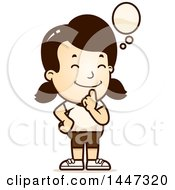 Clipart Of A Retro Thinking Caucasian Girl In Shorts Royalty Free Vector Illustration by Cory Thoman