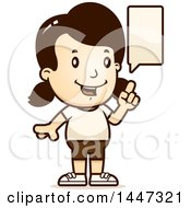 Clipart Of A Retro Talking Caucasian Girl In Shorts Royalty Free Vector Illustration by Cory Thoman