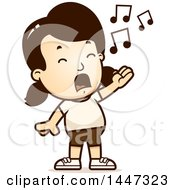 Clipart Of A Retro Singing Caucasian Girl In Shorts Royalty Free Vector Illustration by Cory Thoman