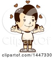 Clipart Of A Retro Caucasian Girl In Shorts With Open Arms And Love Hearts Royalty Free Vector Illustration
