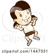 Clipart Of A Retro Caucasian Girl Jumping In Shorts Royalty Free Vector Illustration