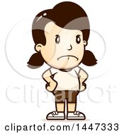 Clipart Of A Retro Angry Caucasian Girl In Shorts With Hands On Her Hips Royalty Free Vector Illustration