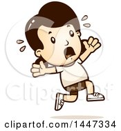 Clipart Of A Retro Caucasian Girl In Shorts Running Scared Royalty Free Vector Illustration by Cory Thoman