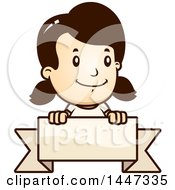 Clipart Of A Retro Caucasian Caucasian Girl Over A Blank Ribbon Banner Royalty Free Vector Illustration by Cory Thoman