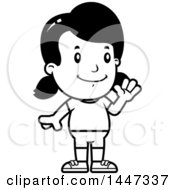 Clipart Of A Black And White Retro Waving Girl In Shorts Royalty Free Vector Illustration