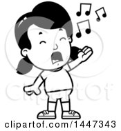 Black And White Retro Singing Girl In Shorts