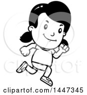 Clipart Of A Black And White Retro Girl Running In Shorts Royalty Free Vector Illustration