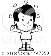 Clipart Of A Black And White Retro Girl In Shorts With Open Arms And Love Hearts Royalty Free Vector Illustration