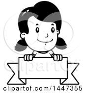 Clipart Of A Black And White Retro Black And White Girl Over A Blank Ribbon Banner Royalty Free Vector Illustration
