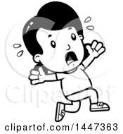 Black And White Retro Girl Running Scared