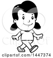 Clipart Of A Black And White Retro Girl Walking Royalty Free Vector Illustration