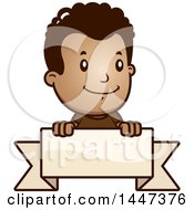 Clipart Of A Retro African American Boy Smiling Over A Blank Ribbon Banner Royalty Free Vector Illustration