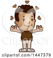 Clipart Of A Retro African American Boy With Open Arms And Love Hearts Royalty Free Vector Illustration