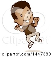Clipart Of A Retro African American Boy Jumping Royalty Free Vector Illustration