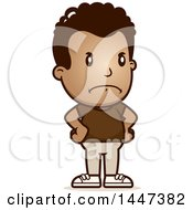 Clipart Of A Retro Angry African American Boy With Hands On His Hips Royalty Free Vector Illustration